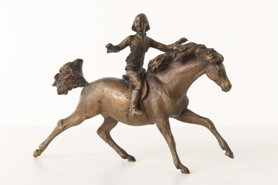 GALLOPPING PONY WITH RIDER - UNIKAT - BRONZE - JOCHEN IHLE - GERMANY - 1976