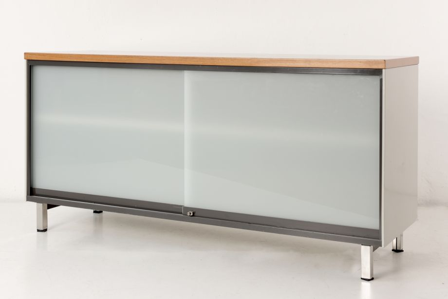 SIDEBOARD WITH GLASS SLIDING DOORS - GISPEN - HOLLAND - AROUND 1955