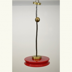 PENDANT LIGHT - RED - ROUND - 1970