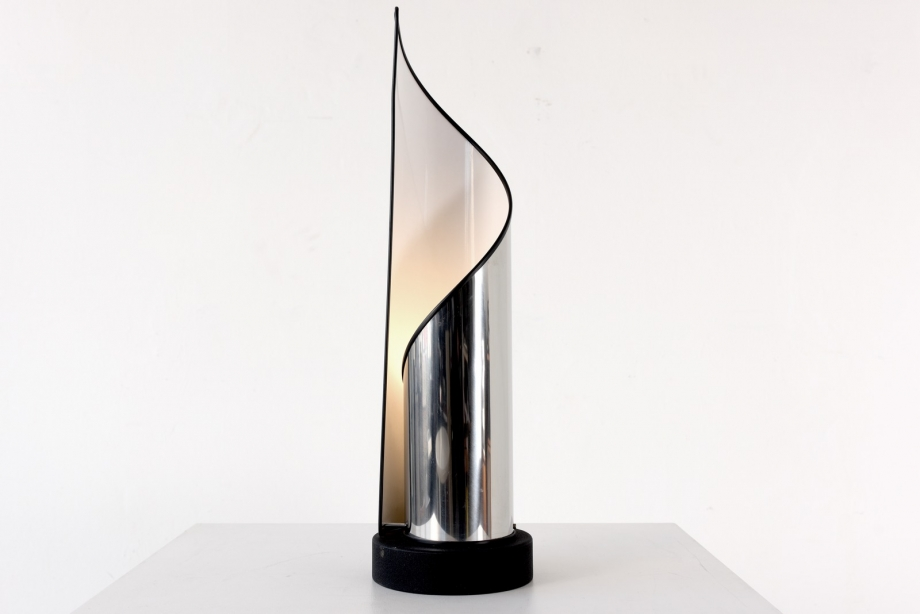 TABLE LAMP - STAINLESS STEEL - STILNOVO - ITALY - AROUND 1970