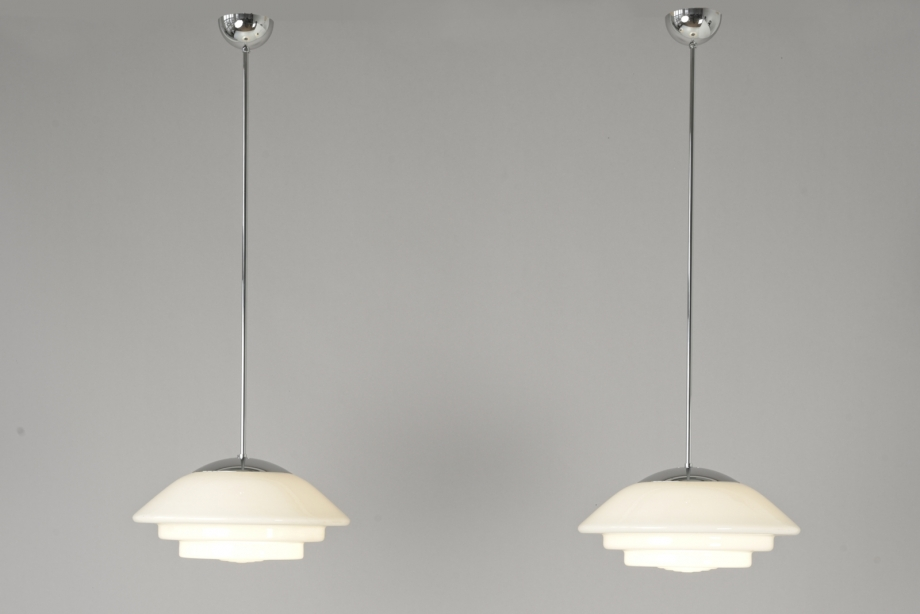 PAIR OF PENDANT LIGHTS - OPAQUE GLASS - GERMANY - AROUND 1935