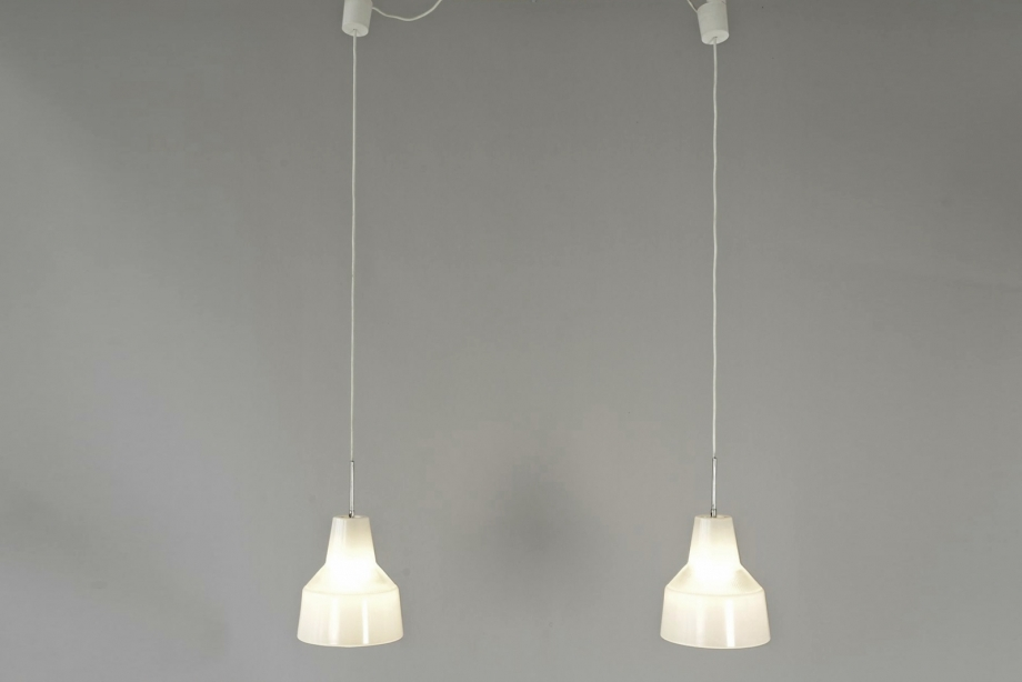 PAIR OF PENDANT LIGHTS - HOLOPHANE - FRANCE - AROUND 1950