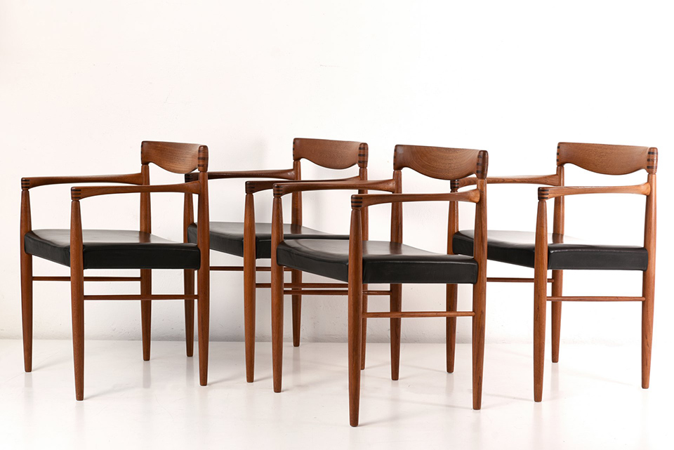 4 ARMCHAIRS - H.W. KLEIN - BRAMIN - DENMARK - AROUND 1960