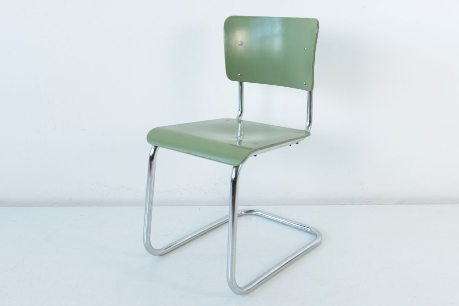 CANTILEVER CHAIR - LIGHT GREEN - HANSEN - GERMANY - AROUND 1950