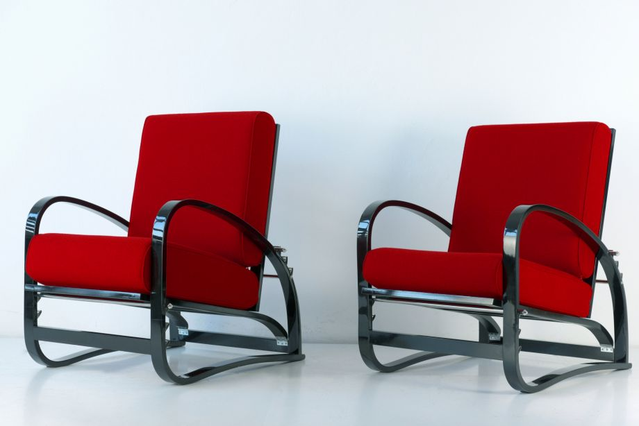 PAIR OF ADJUSTABLE ARMCHAIRS H 70 - JINDRICH HALABALA - UP - CZECHOSLOVAKEI - 1930