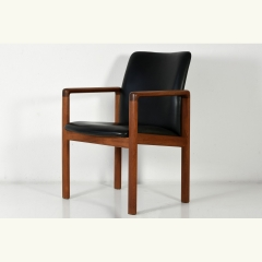 ARMCHAIR - LEATHER UPHOLSTERY - TEAK - DENMARK - AROUND 1980