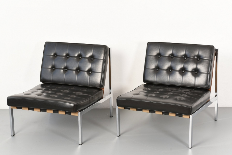 2 EASY CHAIRS WITH LEATHER BELTS - ERNST JOSEF ALTHOFF - GERMANY - AROUND 1960