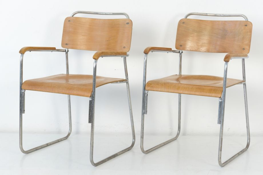 PAIR OF STEEL TUBE CHAIRS - ENGLAND - AROUND 1940