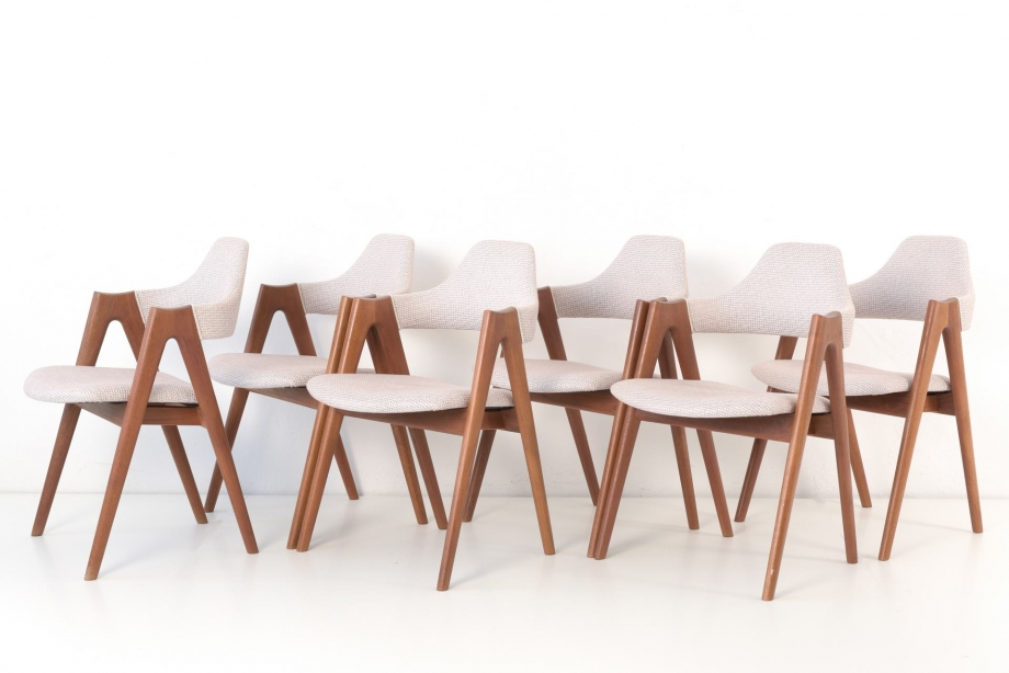 6 ARMCHAIRS - TEAK - DYRLUND - DENMARK - AROUND 1970