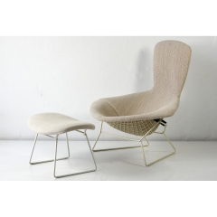 HIGH BACK EASY CHAIR WITH OTTOMAN - HARRY BERTOIA - KNOLL - GERMANY - 1952