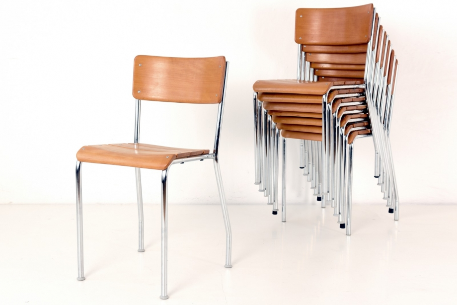 STACKING CHAIRS - SOLID BEECH WOOD - BES - SWITZERLAND - AT 1940/1950