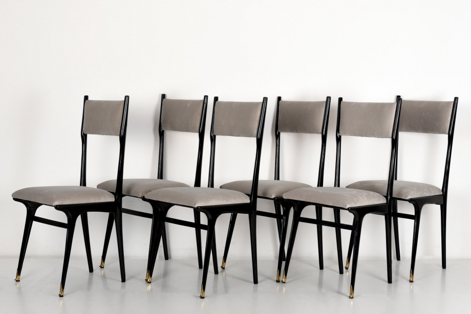 6 HIGH UPHOLSTERY CHAIRS - ICO PARISI - ITALY - AROUND 1950