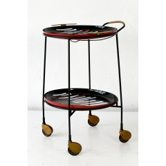 SIDE TABLE WITH CASTORS - REMOVABLE TABLETS - ITALY - AROUND 1960