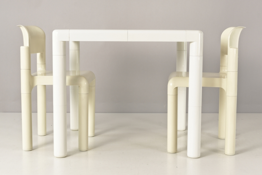 SET OF TABLE AND 2 STACKING CHAIRS - EERO AARNIO - UPO FURNITURE - FINLAND - 1963