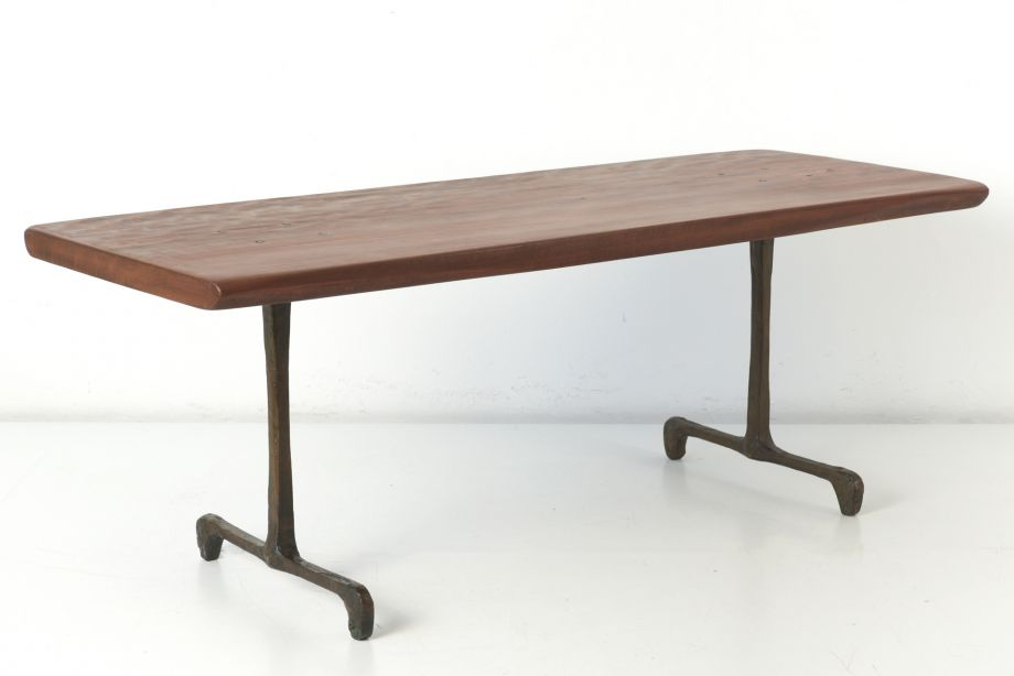 SCULPTURAL TABLE - MAHOGANY AND BRONZE - PAUL DIERKES - BERLIN - GERMANY - 1956
