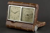 TRAVEL CLOCK WITH BAROMETER - JAEGER LE COULTRE - LEATHER CASE - SWITZERLAND - AROUND 1930