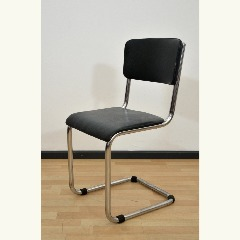 CANTILEVER CHAIR - LEATHER IMITATE - DARK GREEN