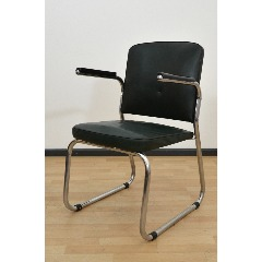 STEELTUBE ARMCHAIR - LEATHER IMITATE - DARK GREEN