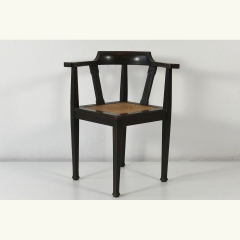 CORNER CHAIR - SOLID OAK - VIENNA WOVEN CANE - GERMANY - AROUND 1910